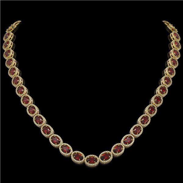 32.82 ctw Garnet & Diamond Micro Pave Halo Necklace 10k Yellow Gold - REF-600R2K