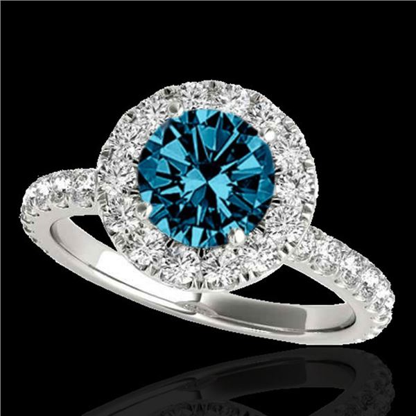 2 ctw SI Certified Fancy Blue Diamond Solitaire Halo Ring 10k White Gold - REF-170F5M