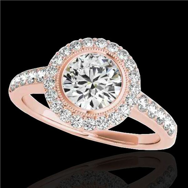 1.5 ctw Certified Diamond Solitaire Halo Ring 10k Rose Gold - REF-218G2W