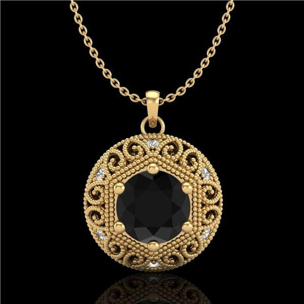1.11 ctw Fancy Black Diamond Art Deco Stud Necklace 18k Yellow Gold - REF-87G3W