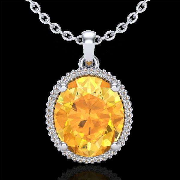 10 ctw Citrine & Micro Pave VS/SI Diamond Necklace 18k White Gold - REF-75F5M