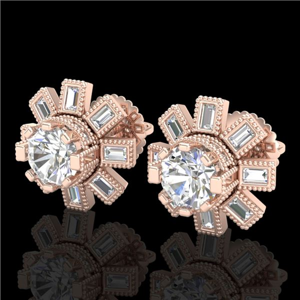 1.77 ctw VS/SI Diamond Solitaire Art Deco Stud Earrings 18k Rose Gold - REF-263Y6X