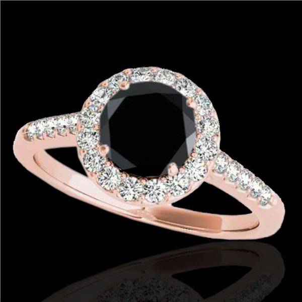 2 ctw Certified VS Black Diamond Solitaire Halo Ring 10k Rose Gold - REF-75W2H