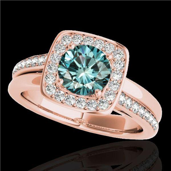 1.33 ctw SI Certified Fancy Blue Diamond Halo Ring 10k Rose Gold - REF-163N6F