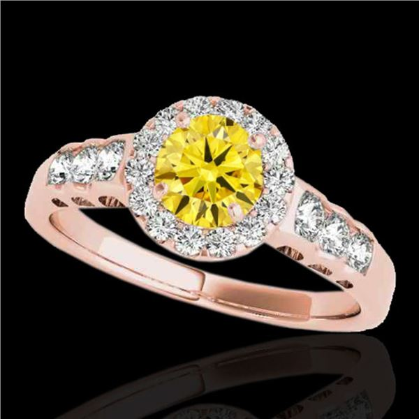 1.55 ctw Certified SI/I Fancy Intense Yellow Diamond Ring 10k Rose Gold - REF-190W9H