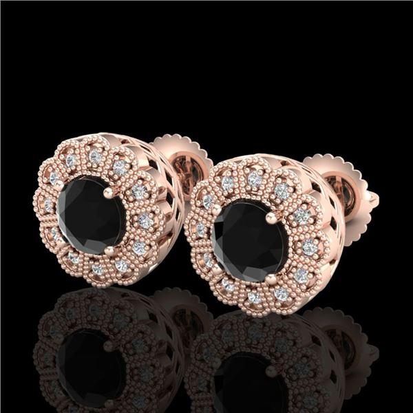 1.32 ctw Fancy Black Diamond Art Deco Stud Earrings 18k Rose Gold - REF-107W3H