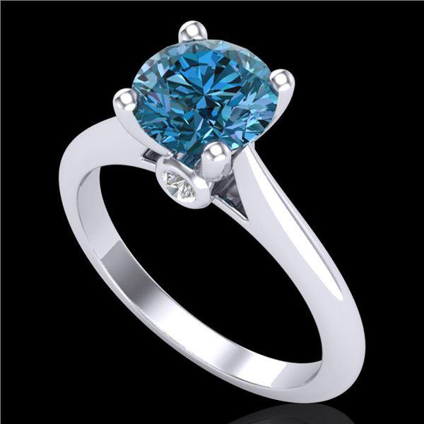 1.6 ctw Intense Blue Diamond Engagment Art Deco Ring 18k White Gold - REF-216N8F