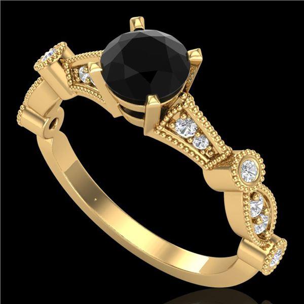 1.03 ctw Fancy Black Diamond Engagment Art Deco Ring 18k Yellow Gold - REF-80G2W