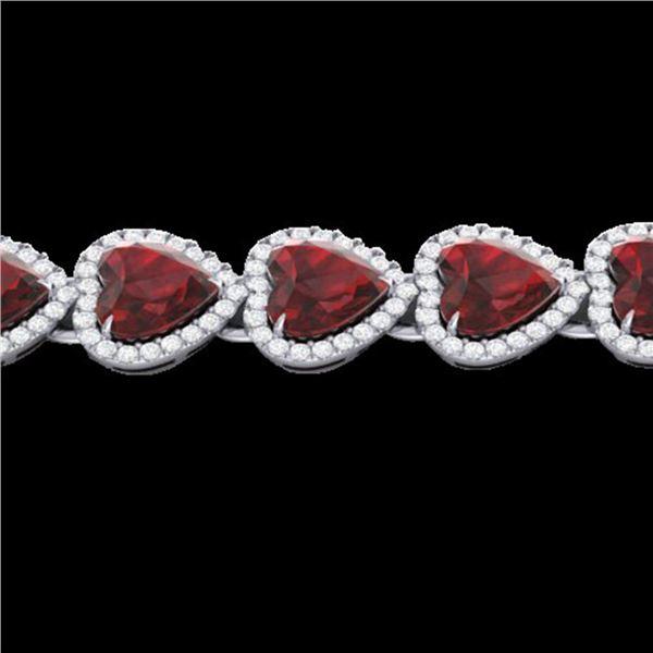 25 ctw Garnet & Micro Pave VS/SI Diamond Bracelet Heart 14k White Gold - REF-415R5K