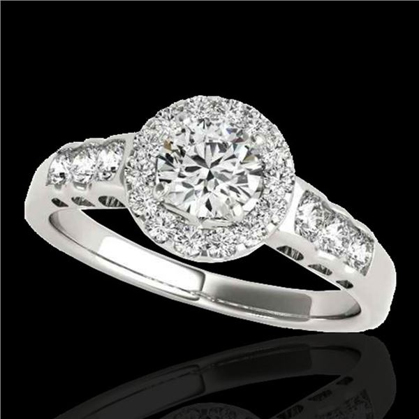1.55 ctw Certified Diamond Solitaire Halo Ring 10k White Gold - REF-204R5K