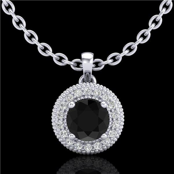 1 ctw Fancy Black Diamond Art Deco Stud Necklace 18k White Gold - REF-76M8G