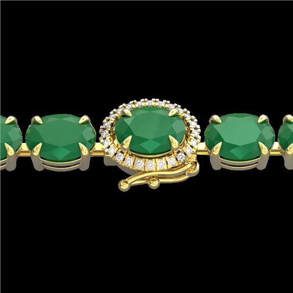 37 ctw Emerald & VS/SI Diamond Micro Pave Bracelet 14k Yellow Gold - REF-327X3A