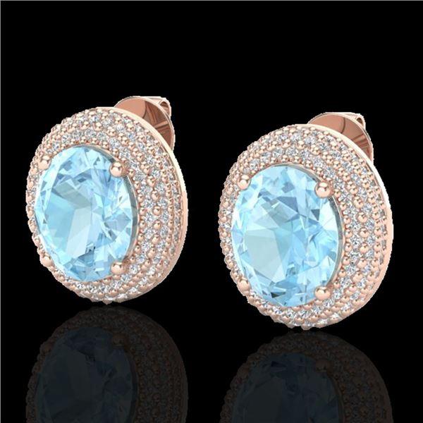 8 ctw Aquamarine & Micro Pave VS/SI Diamond Earrings 14k Rose Gold - REF-208W2H