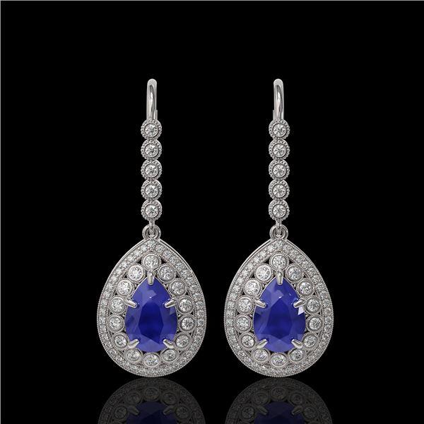 10.15 ctw Sapphire & Diamond Victorian Earrings 14K White Gold - REF-272A2N