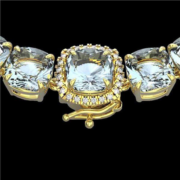 87 ctw Sky Blue Topaz & VS/SI Diamond Micro Necklace 14k Yellow Gold - REF-286X2A