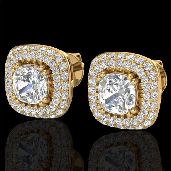 2.16 ctw Micro Pave VS/SI Diamond Earrings Halo 18k Yellow Gold - REF-250A2N