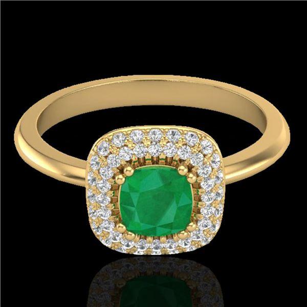 1.16 ctw Emerald & Micro VS/SI Diamond Ring Halo 18k Yellow Gold - REF-80M2G