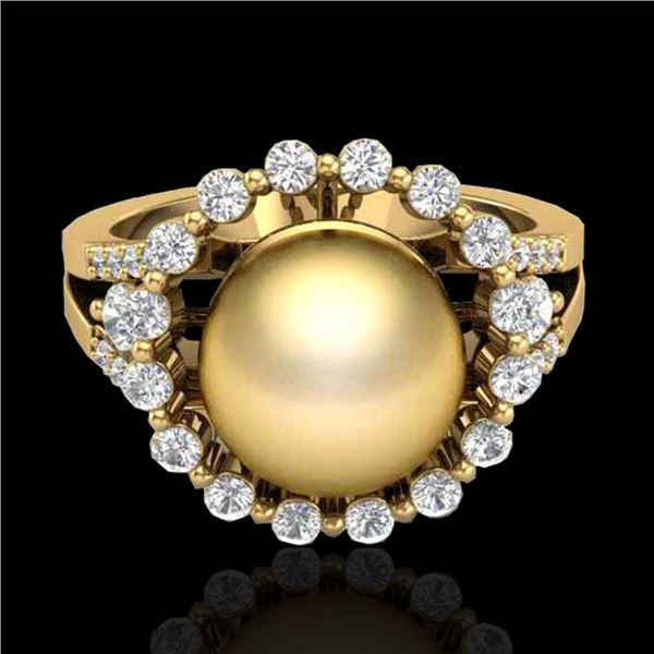 0.83 CT Micro Pave VS/SI Diamond & Golden Pearl Ring 18k Yellow Gold - REF-85W5H