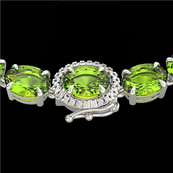 80 ctw Peridot & VS/SI Diamond Micro Pave Necklace 14k White Gold - REF-418N2F