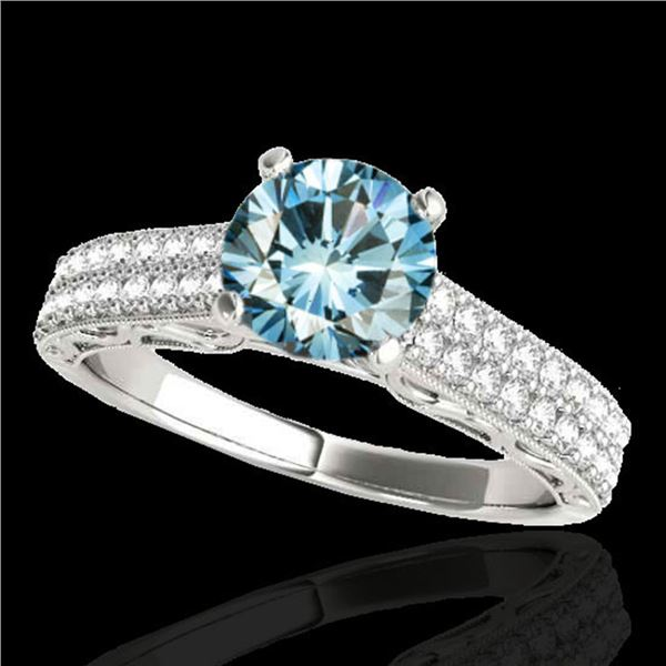 1.91 ctw SI Certified Blue Diamond Solitaire Antique Ring 10k White Gold - REF-185R5K