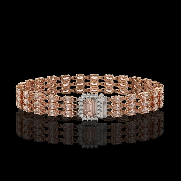 24.91 ctw Morganite & Diamond Bracelet 14K Rose Gold - REF-354H5R
