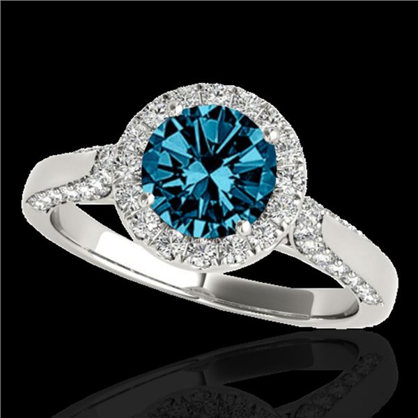 1.5 ctw SI Certified Fancy Blue Diamond Solitaire Halo Ring 10k White Gold - REF-132K3Y