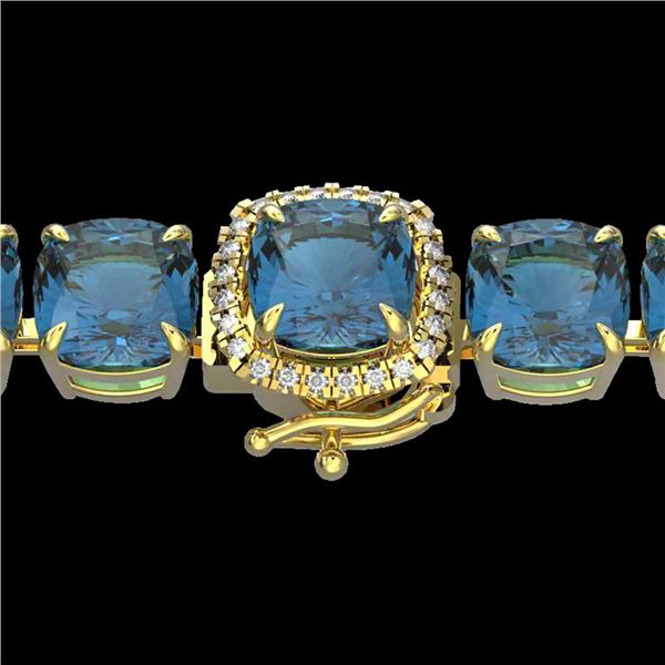 35 ctw London Blue Topaz & Micro Diamond Bracelet 14k Yellow Gold - REF-169A3N