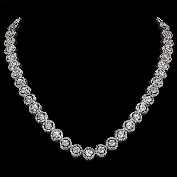 29.37 ctw Cushion Cut Diamond Micro Pave Necklace 18K White Gold - REF-3956K6Y