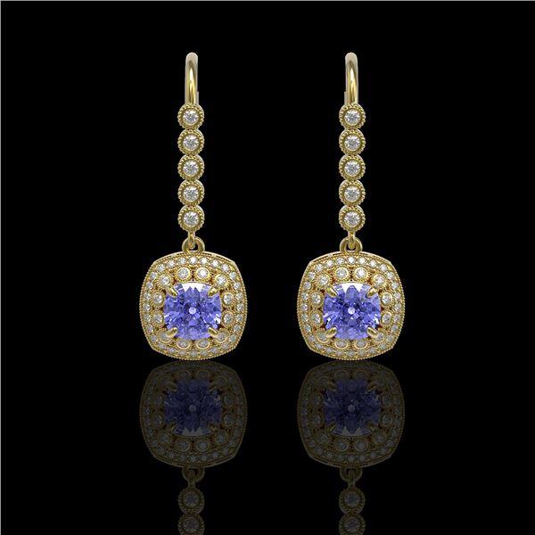 5.2 ctw Certified Tanzanite & Diamond Victorian Earrings 14K Yellow Gold - REF-172M8G