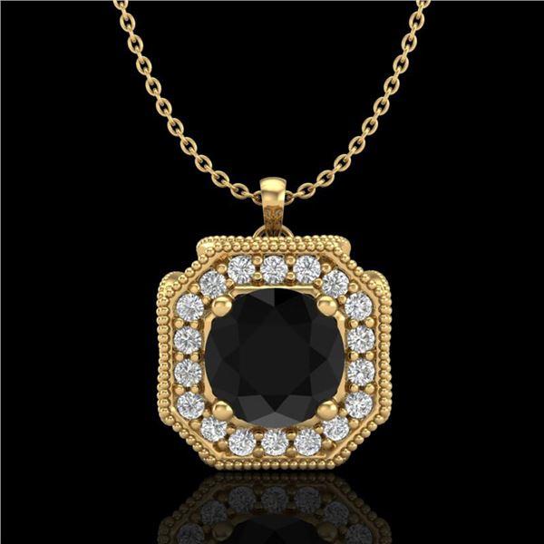 1.54 ctw Fancy Black Diamond Art Deco Stud Necklace 18k Yellow Gold - REF-120N2F