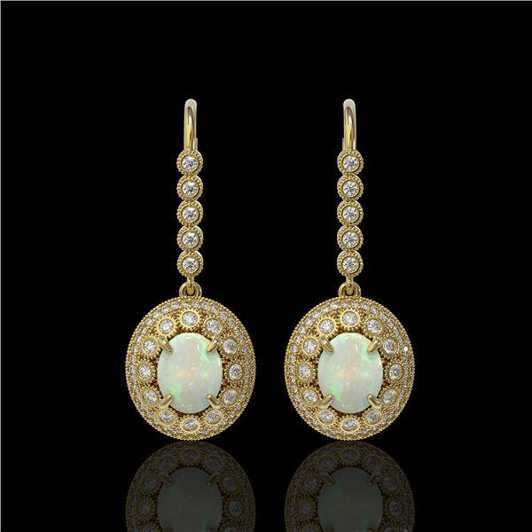 7.81 ctw Certified Opal & Diamond Victorian Earrings 14K Yellow Gold - REF-256R8K