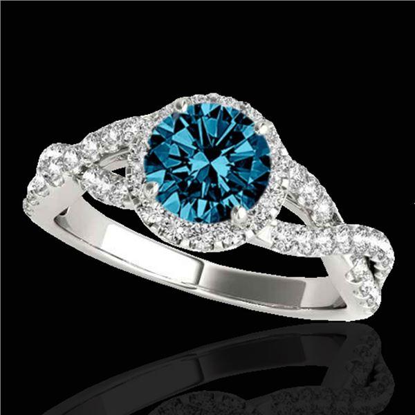 1.54 ctw SI Certified Fancy Blue Diamond Halo Ring 10k White Gold - REF-127W8H