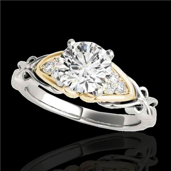 1.1 ctw Certified Diamond Solitaire Ring 10k 2Tone Gold - REF-177X3A