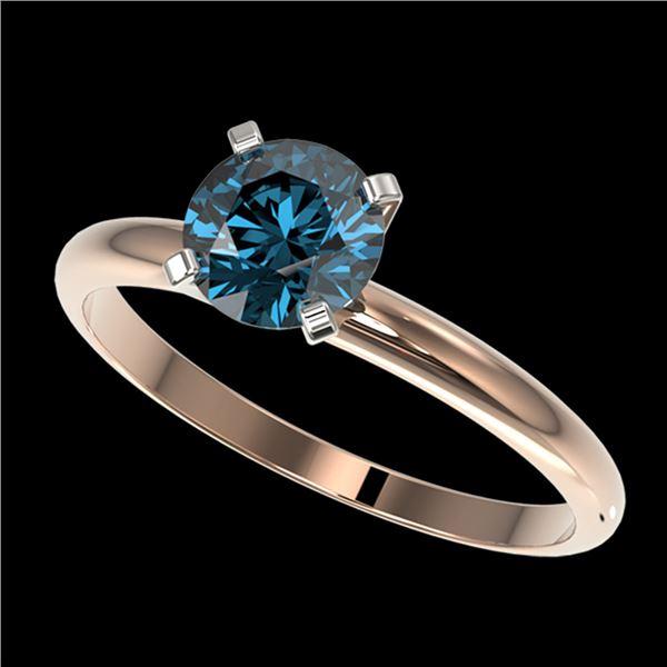 1 ctw Certified Intense Blue Diamond Engagment Ring 10k Rose Gold - REF-92R2K