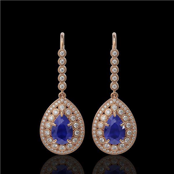 10.15 ctw Sapphire & Diamond Victorian Earrings 14K Rose Gold - REF-272F2M