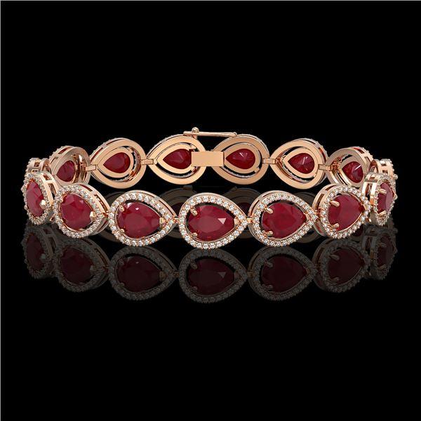 30.06 ctw Ruby & Diamond Micro Pave Halo Bracelet 10k Rose Gold - REF-368W5H