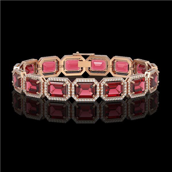 36.51 ctw Tourmaline & Diamond Micro Pave Halo Bracelet 10k Rose Gold - REF-1181K8Y
