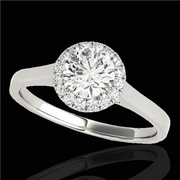 1.11 ctw Certified Diamond Solitaire Halo Ring 10k White Gold - REF-184A3N