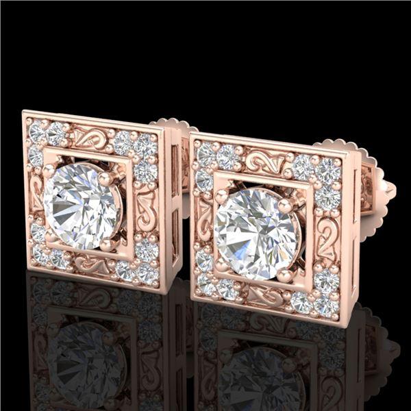 1.63 ctw VS/SI Diamond Solitaire Art Deco Stud Earrings 18k Rose Gold - REF-254M5G