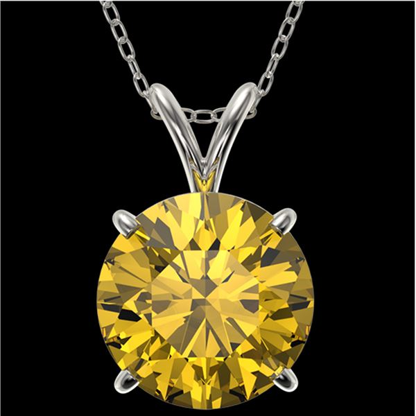2.50 ctw Certified Intense Yellow Diamond Necklace 10k White Gold - REF-478X6A