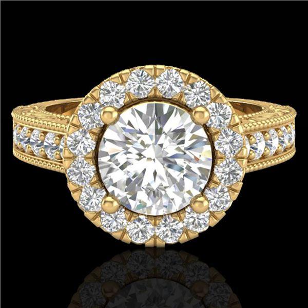 2.25 ctw Vintage VS/SI Diamond Halo Ring 14k Yellow Gold - REF-541N8F