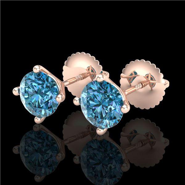 1.5 ctw Fancy Intense Blue Diamond Art Deco Earrings 18k Rose Gold - REF-106G4W