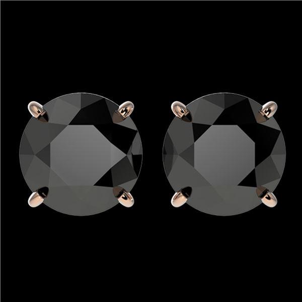 3.18 ctw Fancy Black Diamond Solitaire Stud Earrings 10k Rose Gold - REF-60Y3X