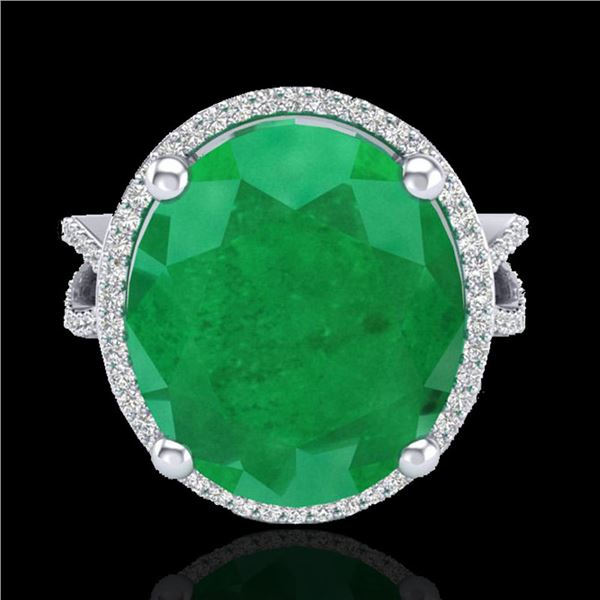 12 ctw Emerald & Micro Pave VS/SI Diamond Ring 18k White Gold - REF-143F6M