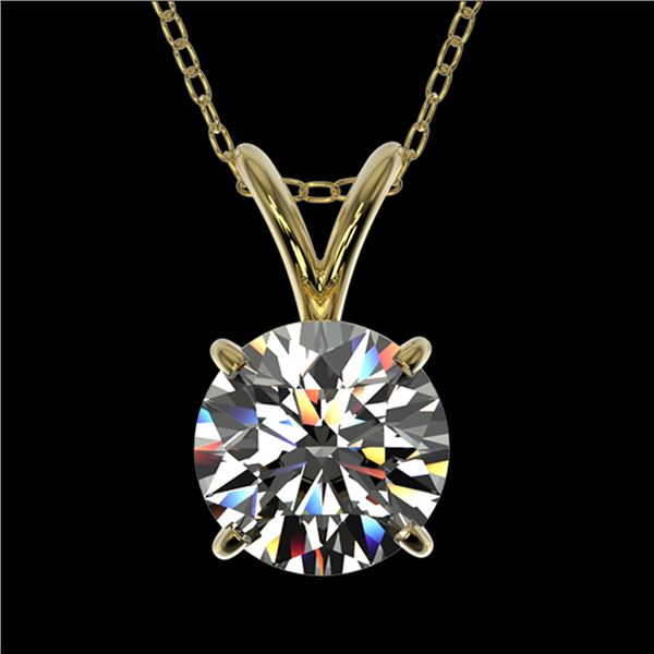 1 ctw Certified Quality Diamond Solitaire Necklace 10k Yellow Gold - REF-141H3R