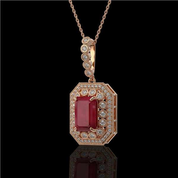 7.18 ctw Certified Ruby & Diamond Victorian Necklace 14K Rose Gold - REF-172A8N