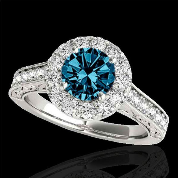 2.22 ctw SI Certified Fancy Blue Diamond Halo Ring 10k White Gold - REF-211N4F