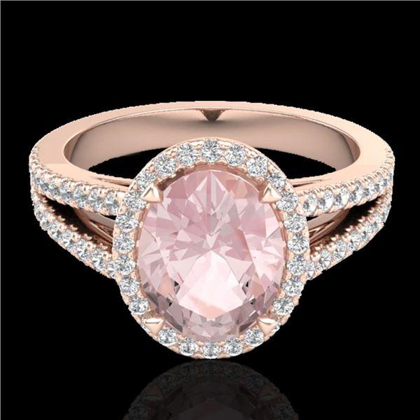 3 ctw Morganite & Micro VS/SI Diamond Halo Ring 14k Rose Gold - REF-76M4G