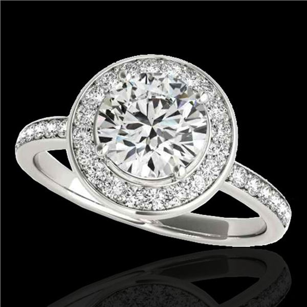 1.65 ctw Certified Diamond Solitaire Halo Ring 10k White Gold - REF-252M3G