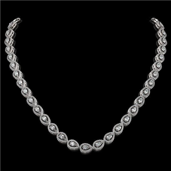 17.28 ctw Pear Cut Diamond Micro Pave Necklace 18K White Gold - REF-1497F3M